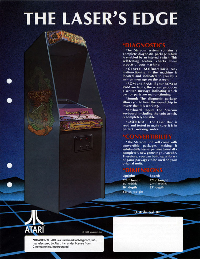 Side B of the Dragon's Lair Arcade Machine flyer